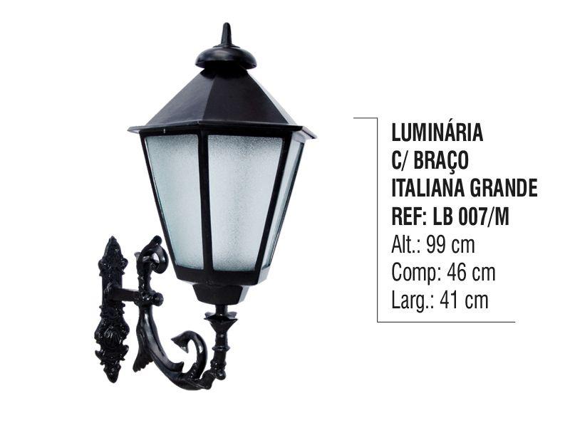 Luminária Colonial com Braço Italiana Grande Alumínio 99cm