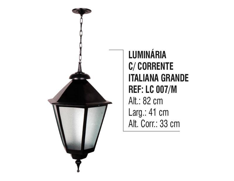 Luminária Colonial Italiana Grande com Corrente em Alumínio  - Panela de Ferro Fundido