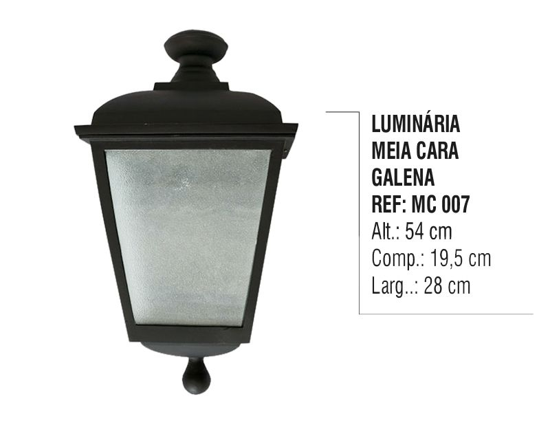 Luminária Colonial Meia Cara Galena em Alumínio e Vidro  - Panela de Ferro Fundido