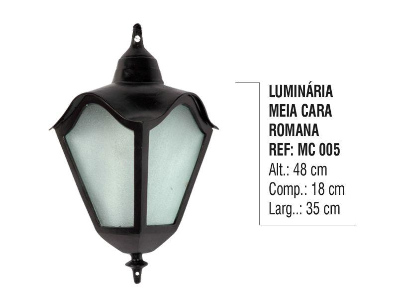 Luminária Colonial Meia Cara Romana em Alumínio e Vidro  - Panela de Ferro Fundido