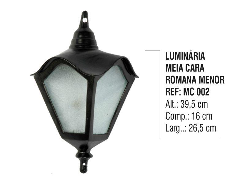 Luminária Colonial Meia Cara Romana Menor em Alumínio  - Panela de Ferro Fundido