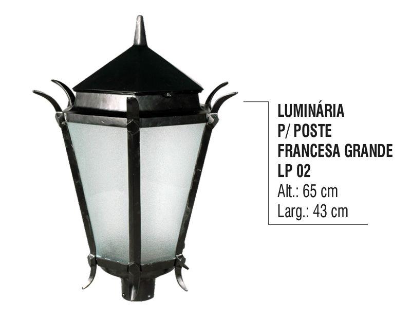 Luminária Colonial para Poste Francesa Grande em Alumínio  - Panela de Ferro Fundido