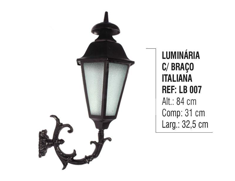 Luminária com Braço Italiana Externa/interna Alumínio 84cm  - Panela de Ferro Fundido