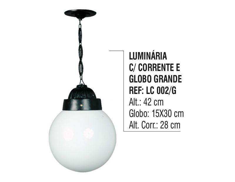 Luminária Externa Interna Globo Grande com Corrente Alumínio  - Panela de Ferro Fundido