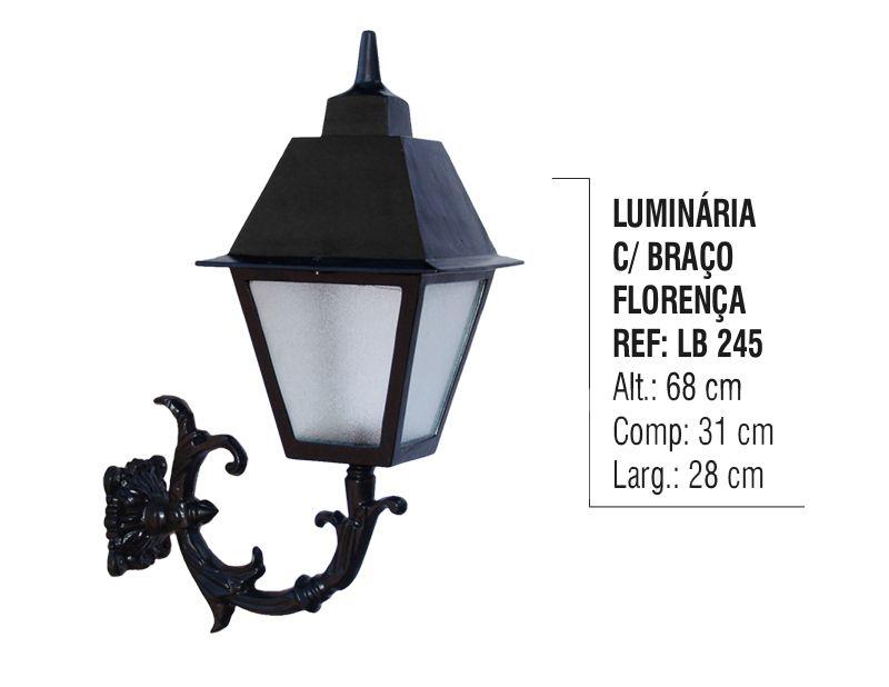 Luminária Florença com Braço Externo/interno Alumínio 68cm  - Panela de Ferro Fundido