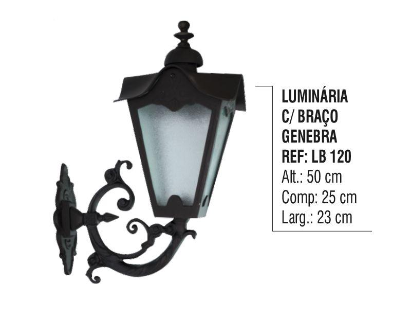 Luminária Genebra com Braço Externa/interna em Alumínio 50cm  - Panela de Ferro Fundido