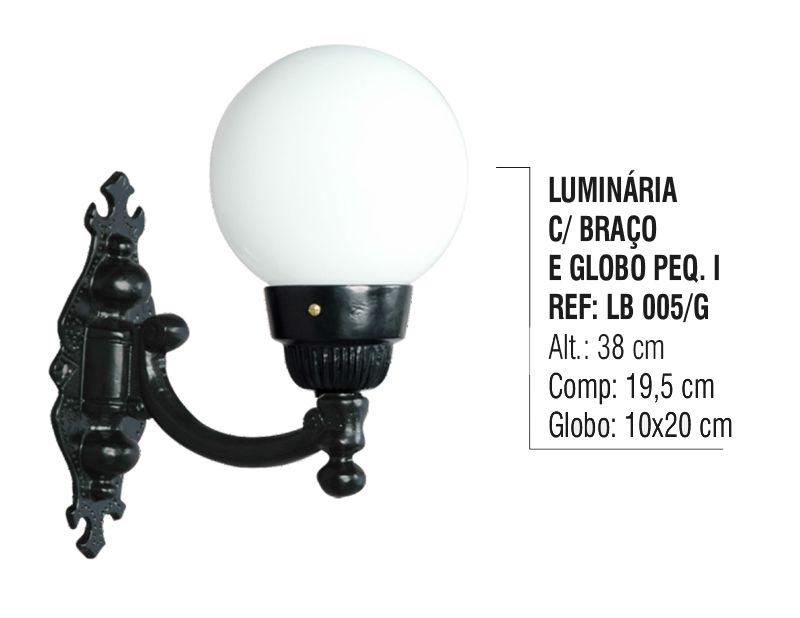 Luminária Globo Pequena 1 com Braço Externa/interna Alumínio 38cm