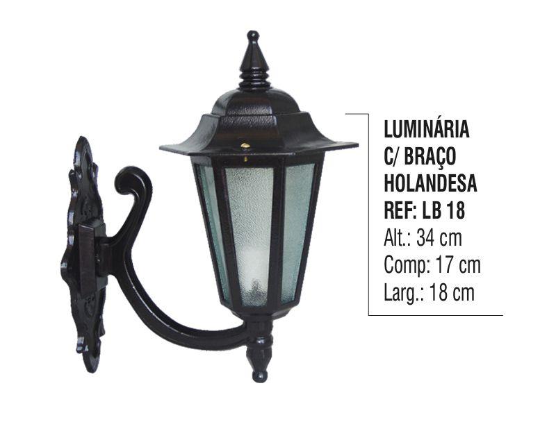Luminária Holandesa com Braço Externa/interna Alumínio 34cm  - Panela de Ferro Fundido