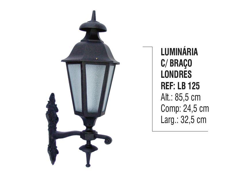 Luminária Londres com Braço Externa/interna Alumínio 85,5cm  - Panela de Ferro Fundido