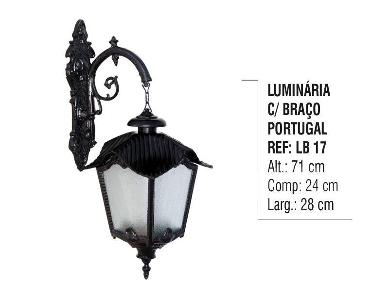 Luminária Portugal com Braço Externa/interna Alumínio 71cm