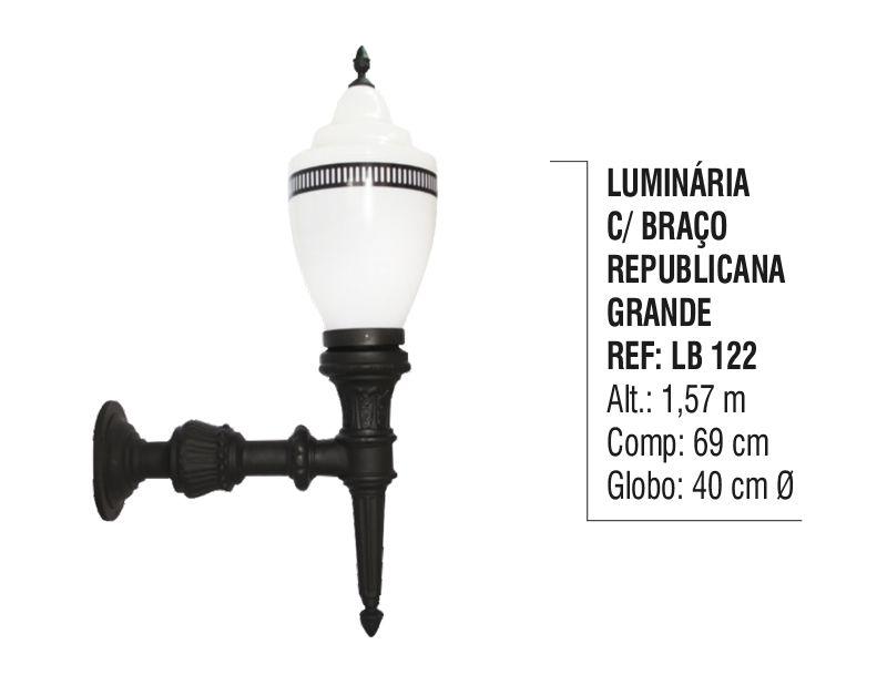 Luminária Republicana Grande com Braço em Alumínio 1,57m  - Panela de Ferro Fundido