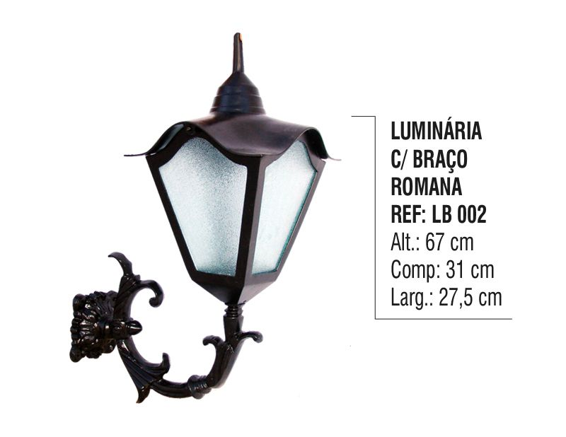 Luminária Romana com Braço Externa/interna em Alumínio 67cm  - Panela de Ferro Fundido