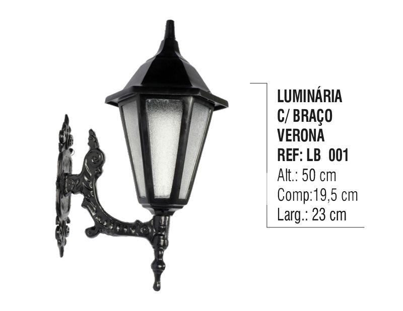 Luminária Verona com Braço Externa/interna em Alumínio 50cm  - Panela de Ferro Fundido
