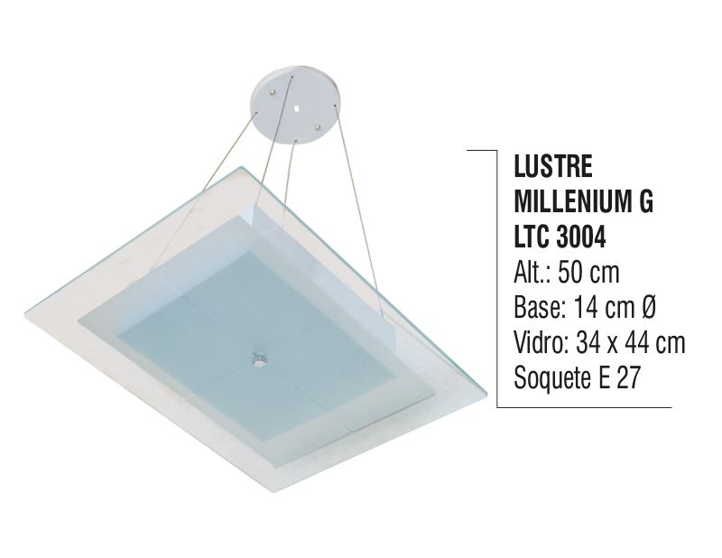 Lustre Contemporâneo de Teto Millenium G Alumínio e Vidro  - Panela de Ferro Fundido