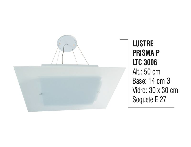 Lustre Contemporâneo de Teto Prisma P Alumínio e Vidro  - Panela de Ferro Fundido