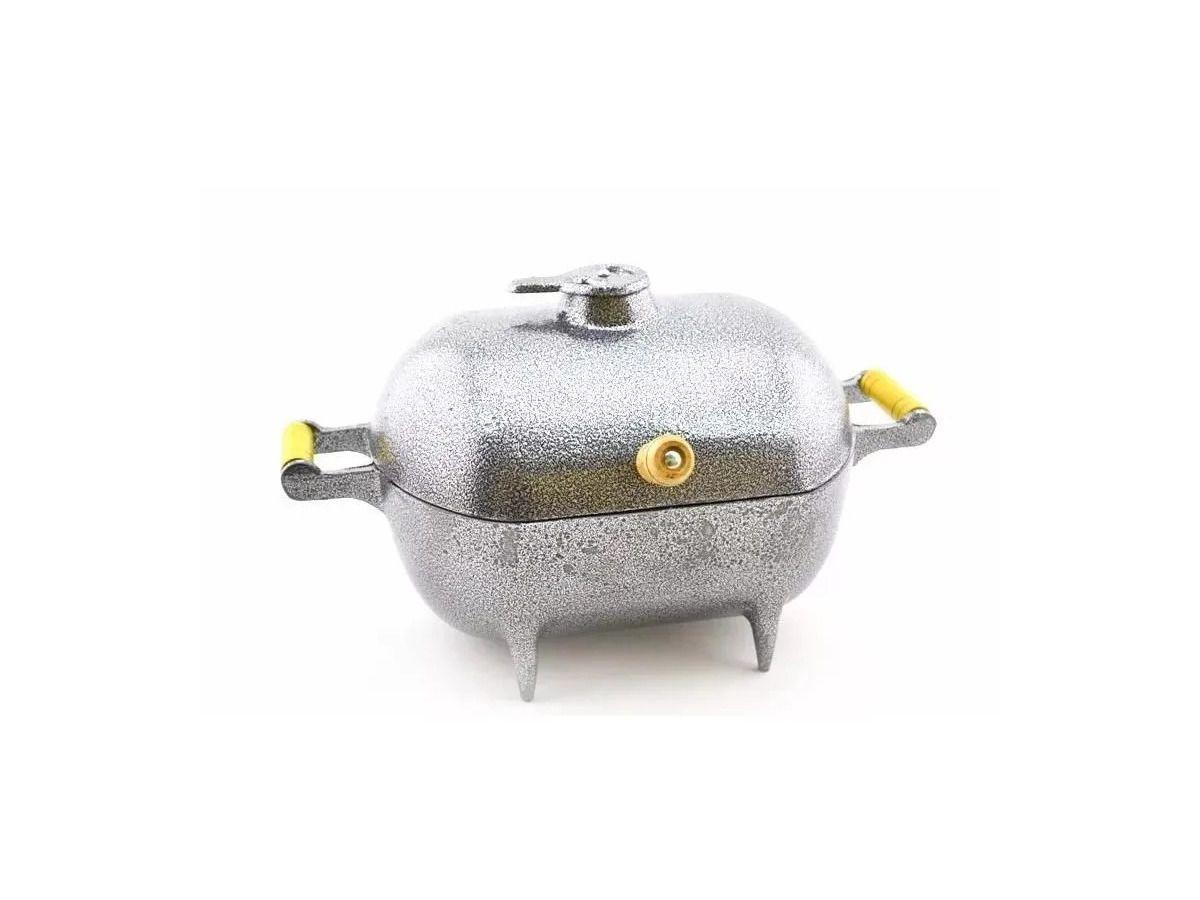 Mini Churrasqueira A Bafo Alumínio Fundido Craqueada Prata  - Panela de Ferro Fundido