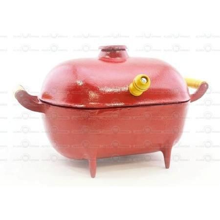 Mini Churrasqueira Bafo Alumínio Fundido Craqueada Vermelha  - Panela de Ferro Fundido