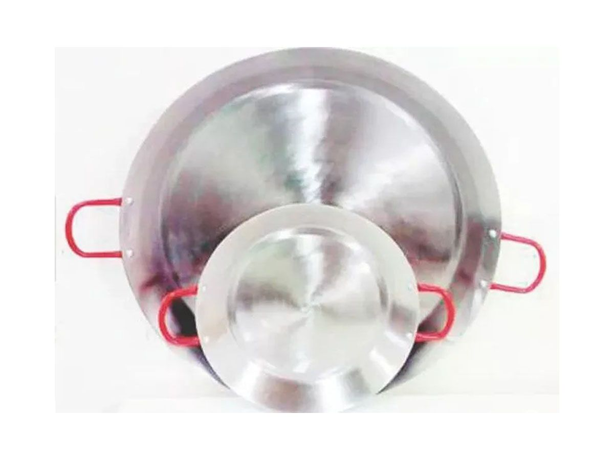 Paellera Tacho Aço Inox 2mm 3 Litros 35cm Alça Vermelha  - Panela de Ferro Fundido