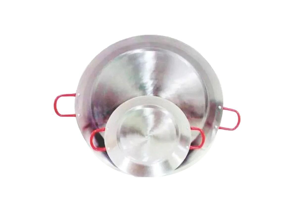 Paellera Tacho Aço Inox 2mm 4 Litros 40cm Alça Vermelha  - Panela de Ferro Fundido