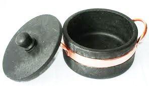 Panela Caçarola de Pedra Sabão com Alça de Cobre 0,8 Litros  - Panela de Ferro Fundido