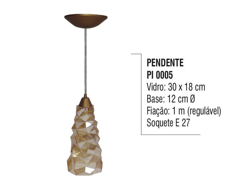 Pendente Lustre de Teto Cristal Dourado Plástico e Vidro  - Panela de Ferro Fundido
