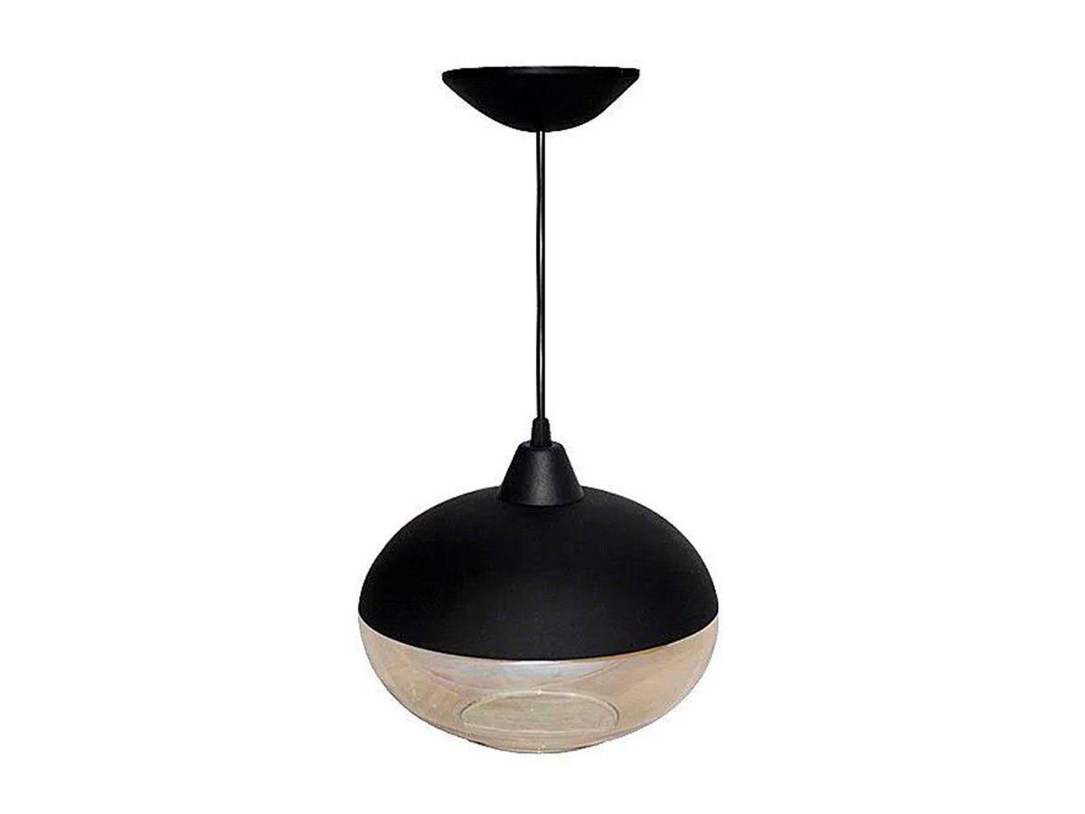 Pendente Lustre Luminária de Teto Meia Bola Plástico e Vidro  - Panela de Ferro Fundido