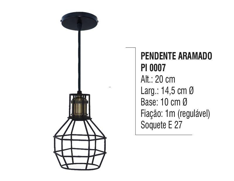 Pendente Lustre Luminária Teto Aramado Redondo Aço e  Vidro  - Panela de Ferro Fundido