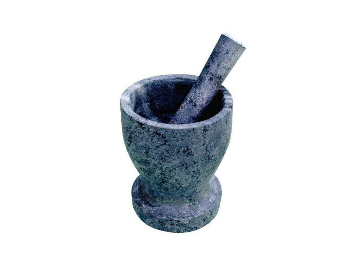 Pilão Almofariz Socador Grande em  Pedra Sabão 13,5 Cm  - Panela de Ferro Fundido