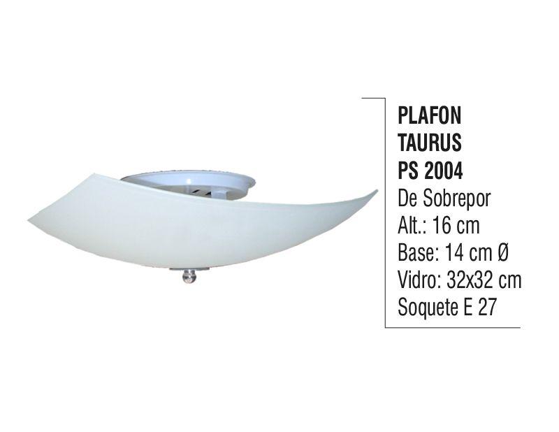 Plafon para Teto Parede Taurus de Sobrepor Alumínio e Vidro