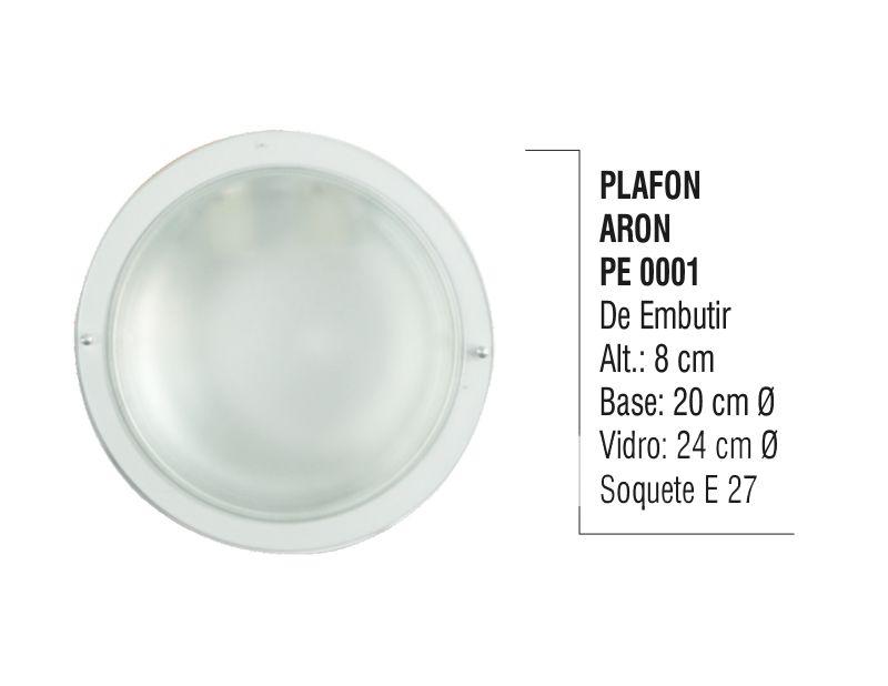 Plafon Teto e Parede Aron de Embutir Alumínio e Vidro  - Panela de Ferro Fundido