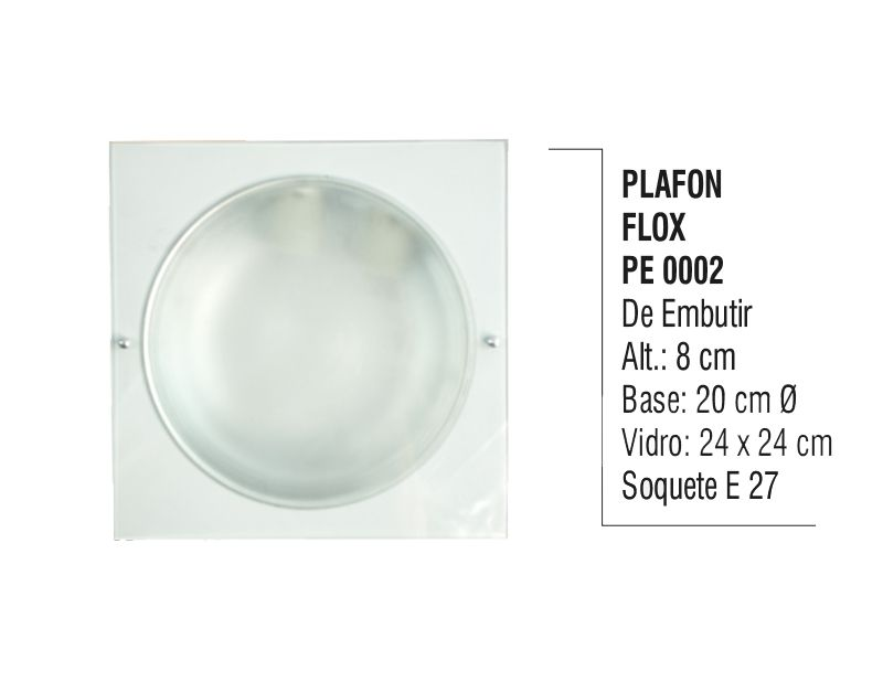 Plafon Teto e Parede Flox de Embutir Alumínio e Vidro  - Panela de Ferro Fundido