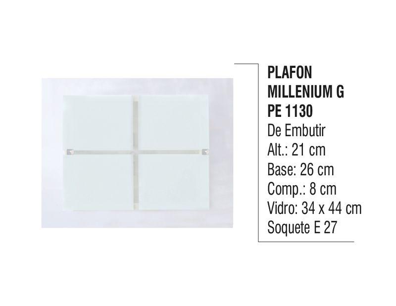 Plafon Teto e Parede Millenium G de Embutir Alumínio e Vidro  - Panela de Ferro Fundido