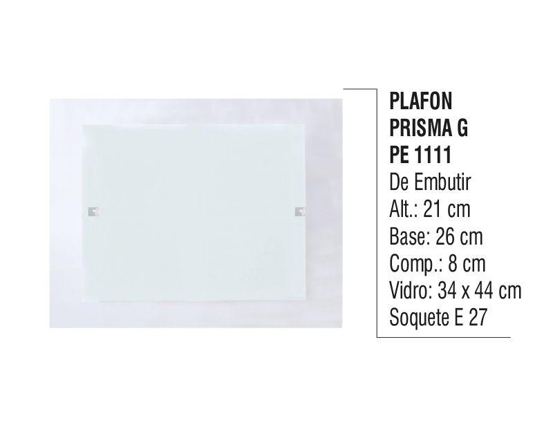 Plafon Teto e Parede Prisma G de Embutir Alumínio e Vidro  - Panela de Ferro Fundido