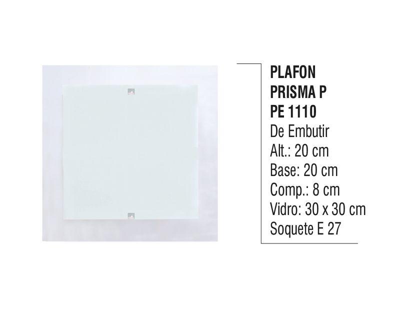 Plafon Teto e Parede Prisma P de Embutir Alumínio e Vidro  - Panela de Ferro Fundido
