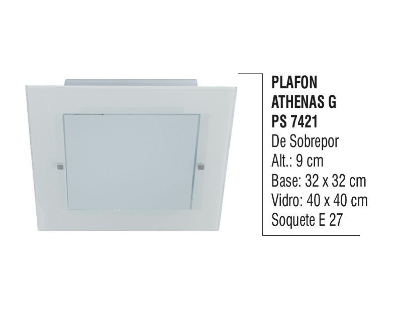 Plafon Teto Parede Athenas G de Sobrepor Alumínio e Vidro  - Panela de Ferro Fundido
