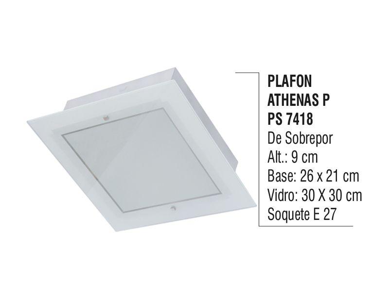Plafon Teto Parede Athenas P de Sobrepor Alumínio e Vidro  - Panela de Ferro Fundido