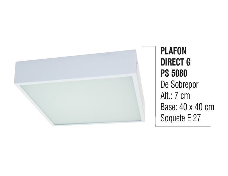 Plafon Teto Parede Direct G de Sobrepor Alumínio e Vidro  - Panela de Ferro Fundido