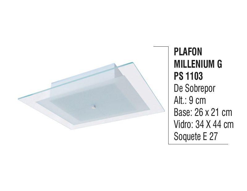 Plafon Teto Parede Millenium G de Sobrepor Alumínio e Vidro