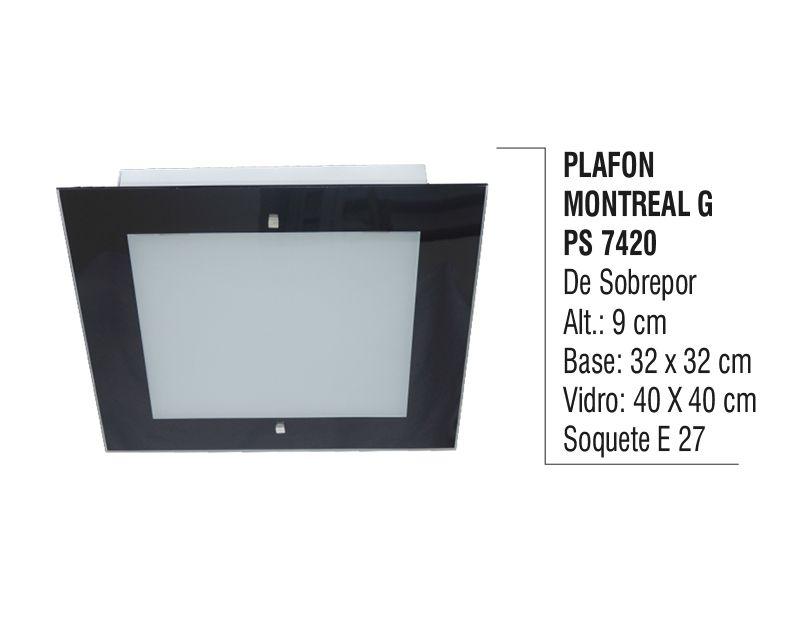 Plafon Teto Parede Montreal G de Sobrepor Alumínio e Vidro