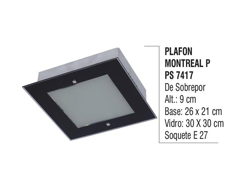 Plafon Teto Parede Montreal P de Sobrepor Alumínio e Vidro  - Panela de Ferro Fundido