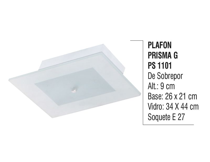Plafon Teto Parede Prisma G de Sobrepor Alumínio e Vidro  - Panela de Ferro Fundido
