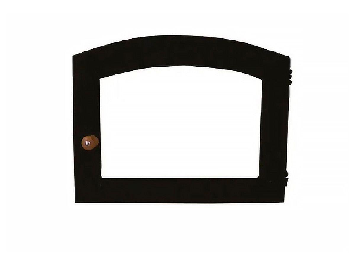 Porta Forno Ferro Fundido Vidro Batoque Madeira 53x41cm  - Panela de Ferro Fundido