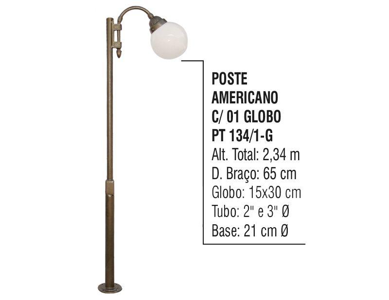 Poste Colonial Americano para Jardim Alumínio 01 Globo 2,34m  - Panela de Ferro Fundido