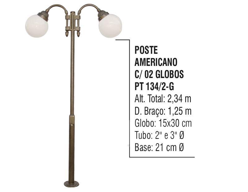 Poste Colonial Americano para Jardim Alumínio 02 Globo 2,34m  - Panela de Ferro Fundido