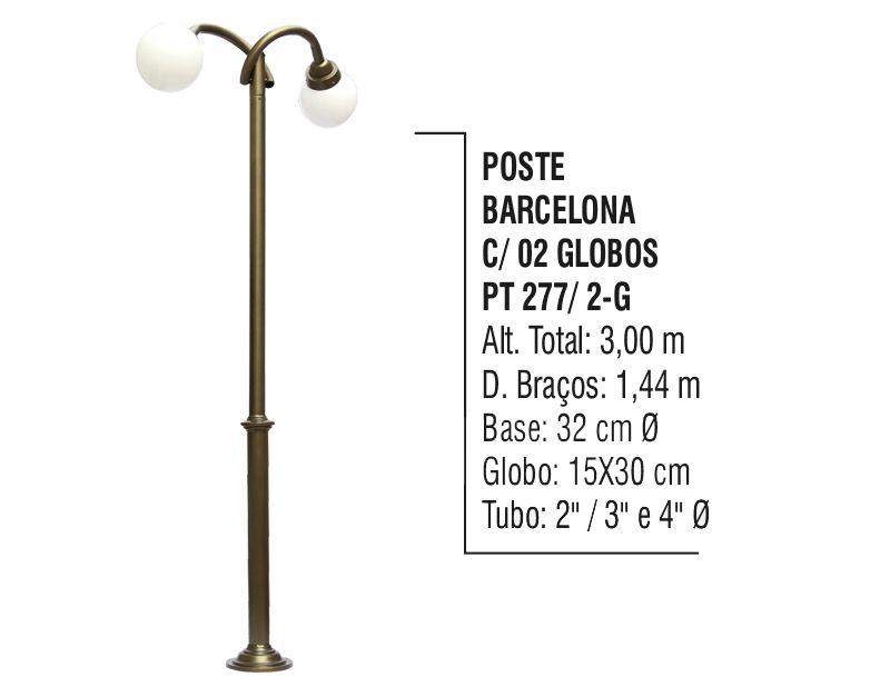 Poste Colonial Barcelona para Jardim Alumínio 02 Globos 3,00m