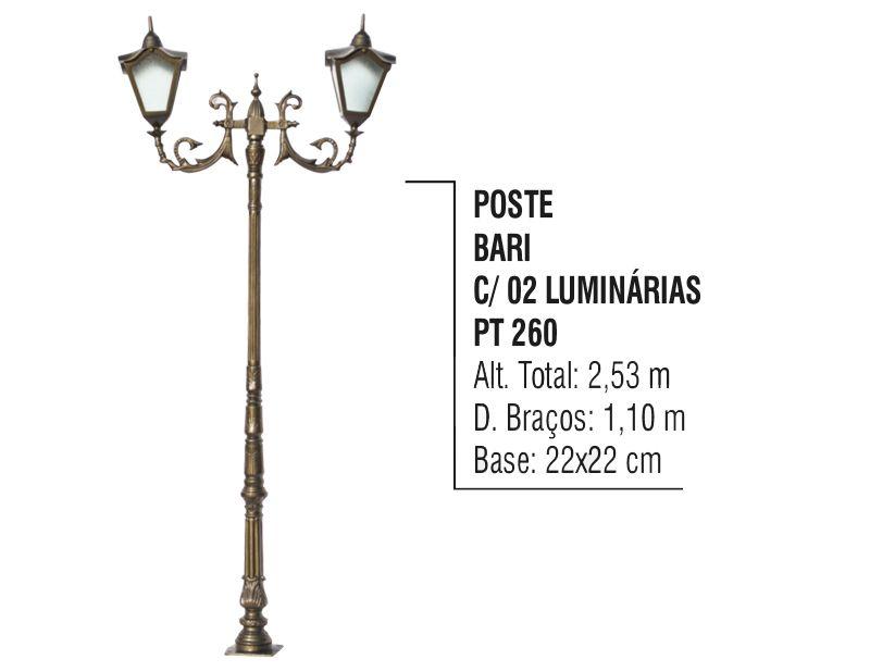 Poste Colonial Bari para Jardim Alumínio 02 Luminária 2,53m  - Panela de Ferro Fundido