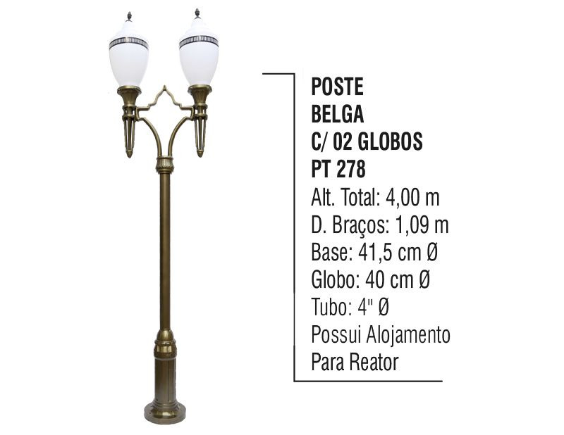 Poste Colonial Belga para Jardim de Alumínio 02 Globo 4,00m