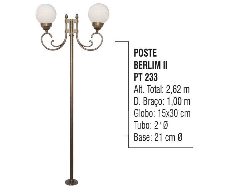 Poste Colonial Berlim 2 para Jardim Alumínio 02 Globo 2,62m  - Panela de Ferro Fundido