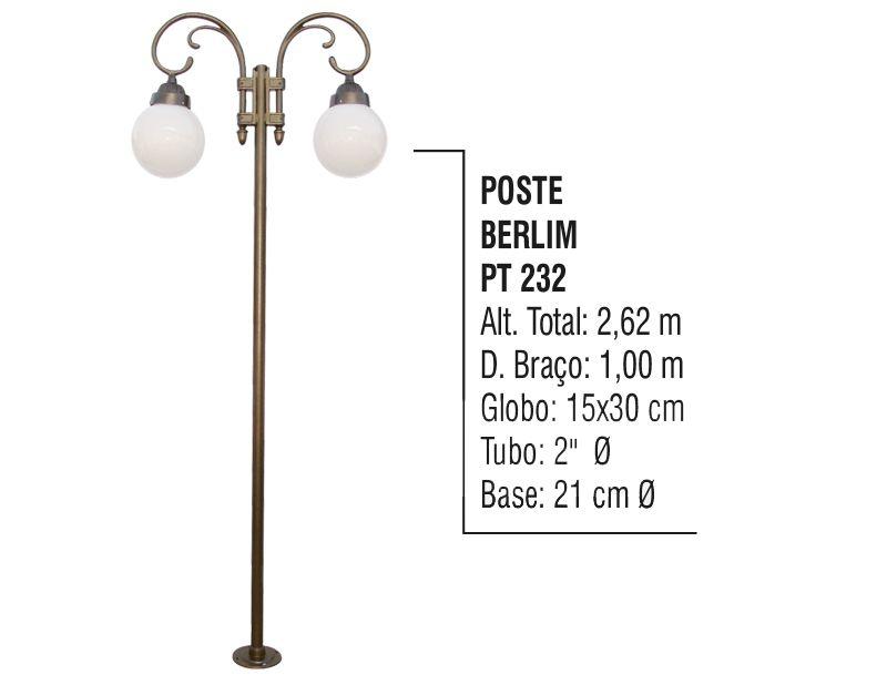 Poste Colonial Berlim para Jardim Alumínio 02 Globo 2,62m