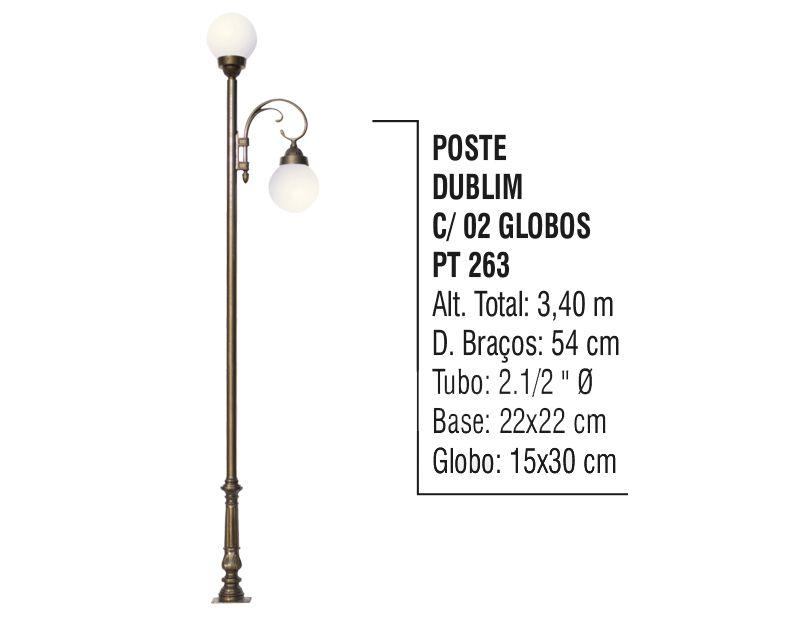 Poste Colonial Dublim para Jardim Alumínio 02 Globos 3,40m  - Panela de Ferro Fundido